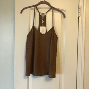 Tibi Brown Leather Racer Back Tank